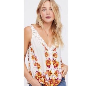 Free People Floral Lace Trim Top Size Small